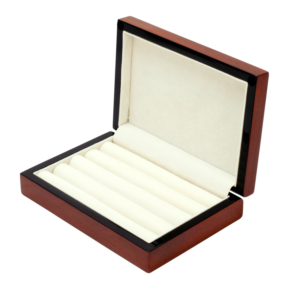 Cherry Wood Cufflink Jewelry Ring Post Earring BOX