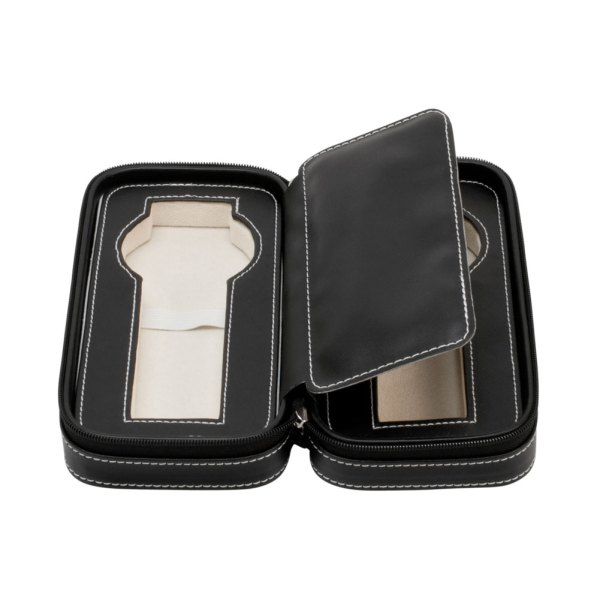 2 Watch Travel Jewelry Case Leather Portable Zipper