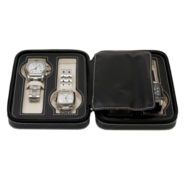 4 Watch Travel Jewelry Case Leather Portable Zipper Book