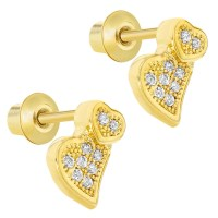 18k Gold Plated Micro Pave Clear CZ Heart Safety Baby