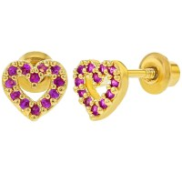 18k Gold Plated Heart Small Pink CZ Baby Girl Screw Back