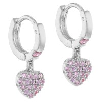 925 Sterling Silver Pink CZ Small Hoop Dangle Heart Baby ...