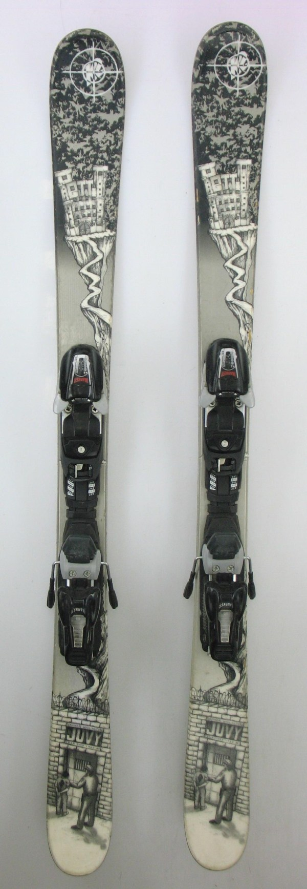 Used K2 Juvy Twin Tip Jr. Kids Snow Skis With Marker 450