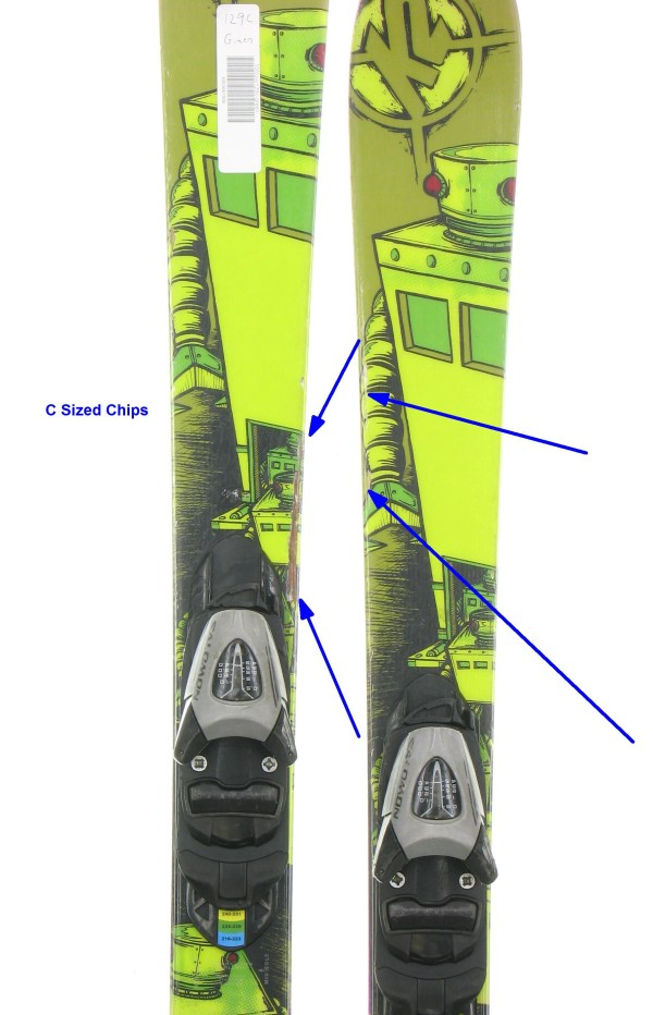 Used K2 Juvy Robot Twin Tip Jr. Kids Snow Skis With Tz5 Jr