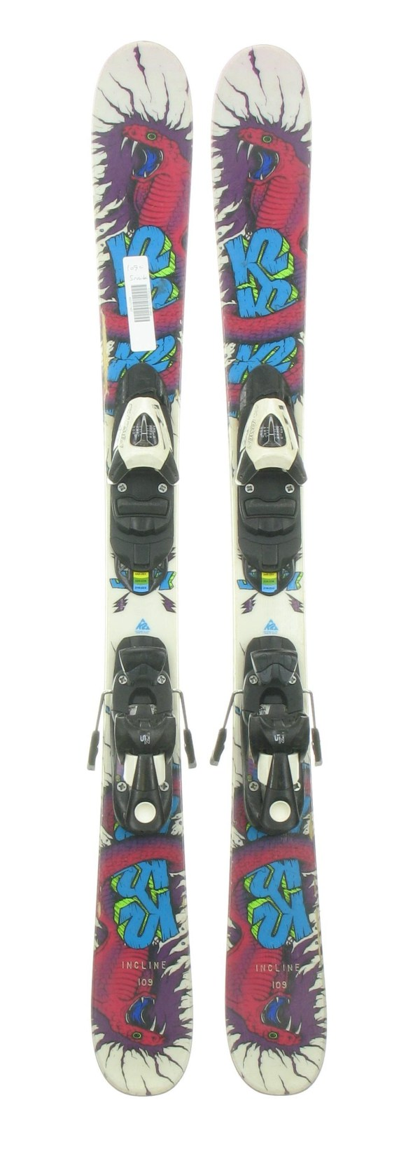 Used K2 Juvy Twin Tip Jr. Kids Snow Skis With Salomon Tz5