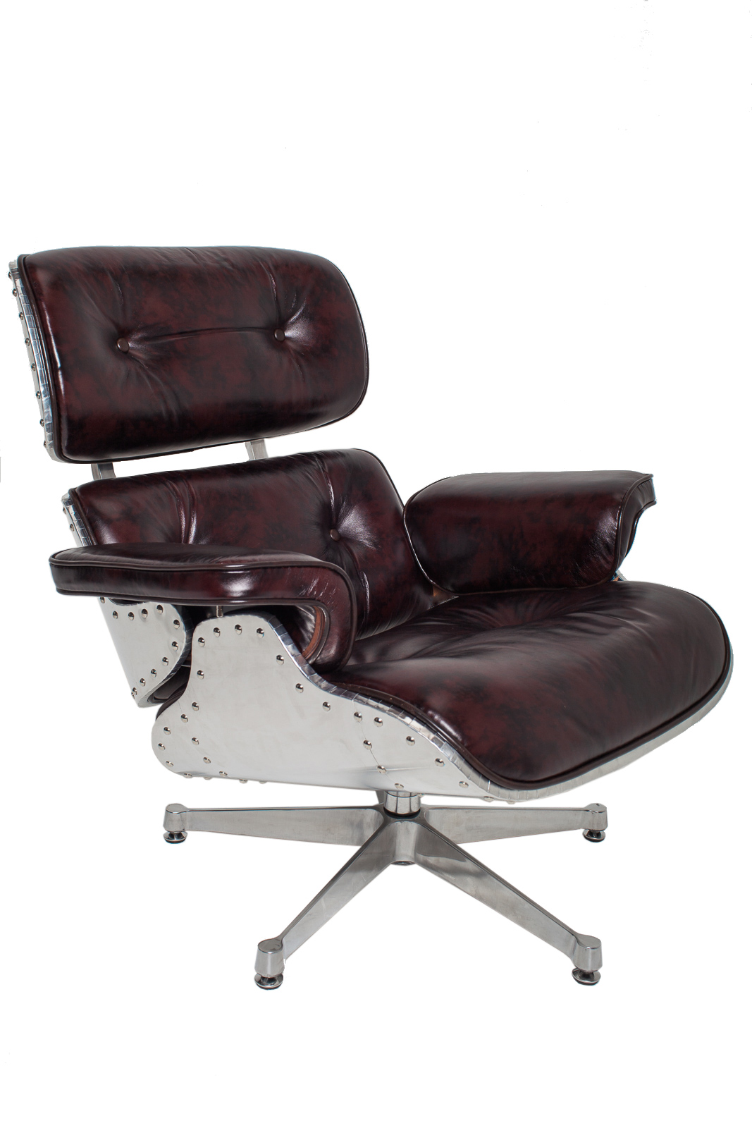 steel lounge chair couch and covers nz new vintage leather aluminum aviator metal eames style