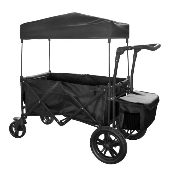 Black Outdoor Folding Push Wagon Canopy Garden Utility Travel Cart Tires Brake