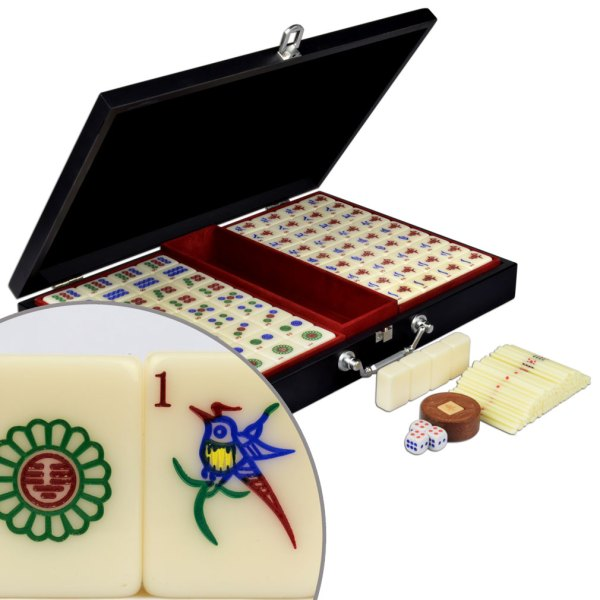 Ymi White Tile Chinese Mahjong Mah-jong Game Set Black