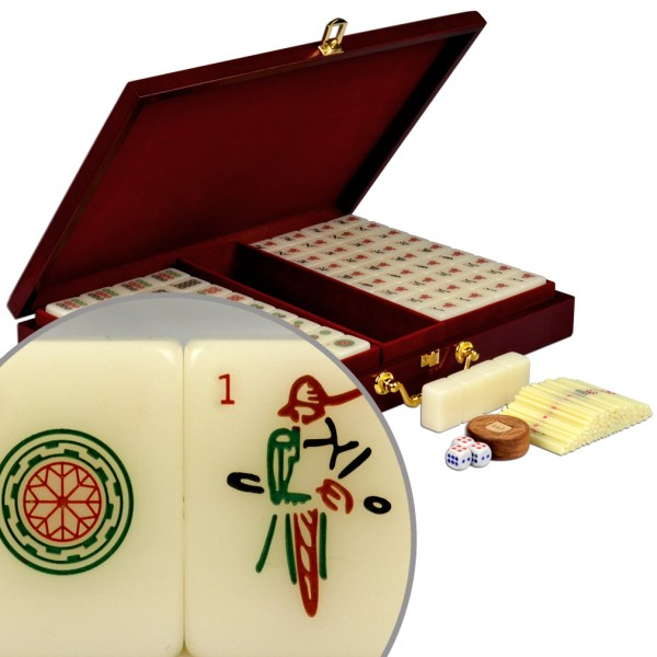 Ymi Numbered Tiles Chinese Mahjong Set Mah-jong Wood Case