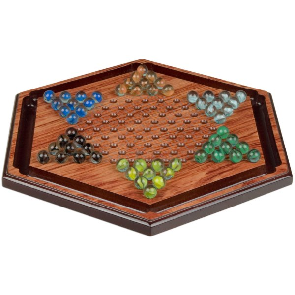 Wooden Chinese Checkers Halma Marble Game Set