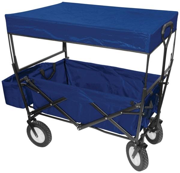 Folding Wagon With Canopy Garden Utility Travel Cart Blue