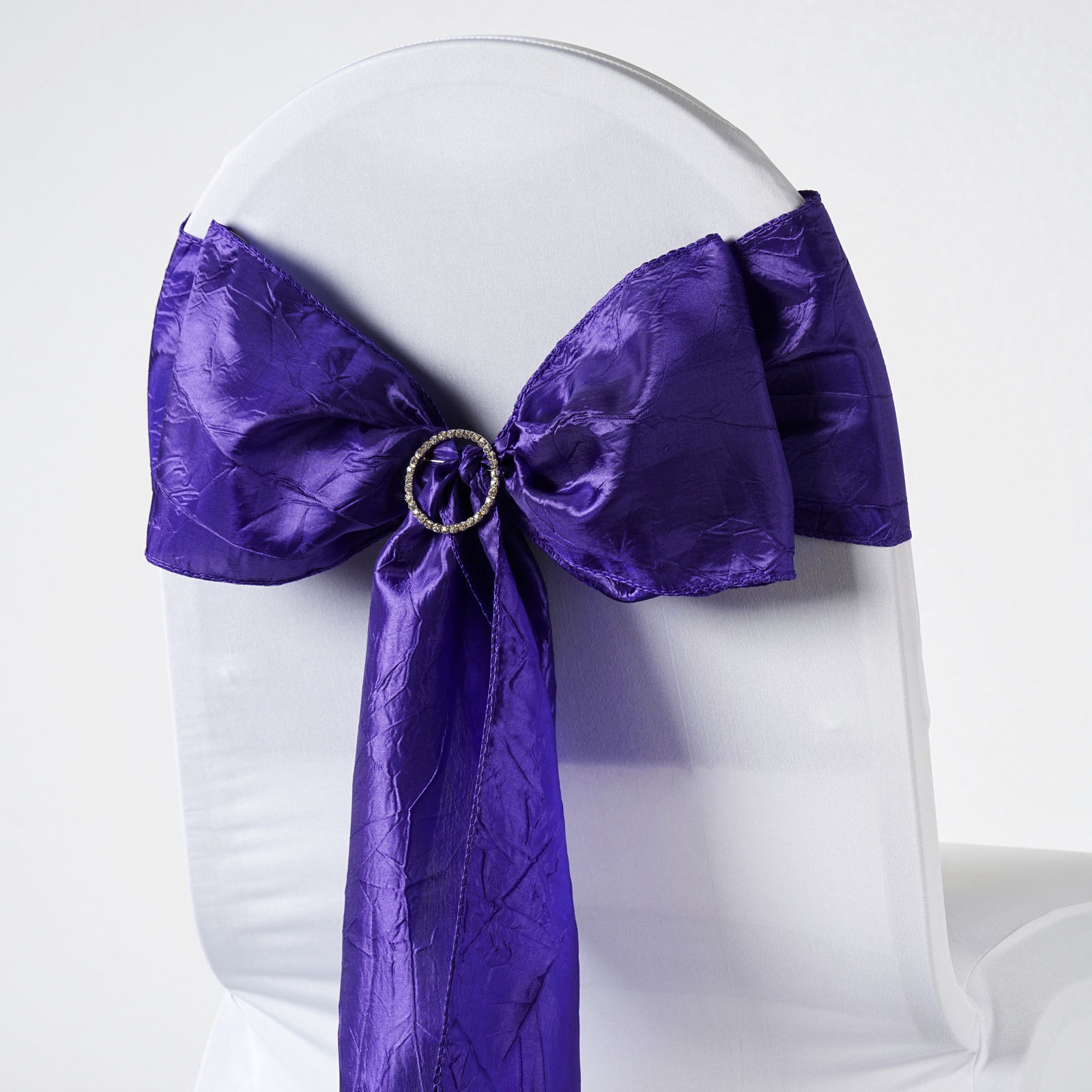purple chair sashes for weddings gray kitchen table and chairs 150 x crinkled taffeta ties bows wedding