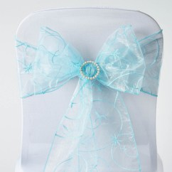 Organza Wedding Chair Sashes Folding Adirondack Plans 10 Light Blue Embroidered Ties Bows
