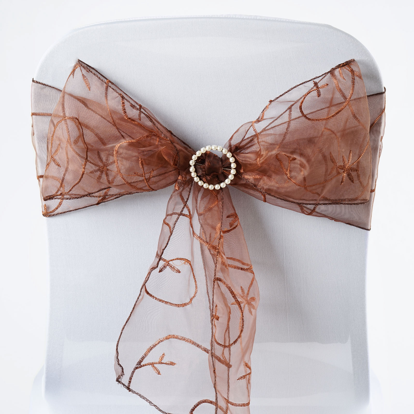 organza wedding chair sashes under cover 50 x embroidered ties bows