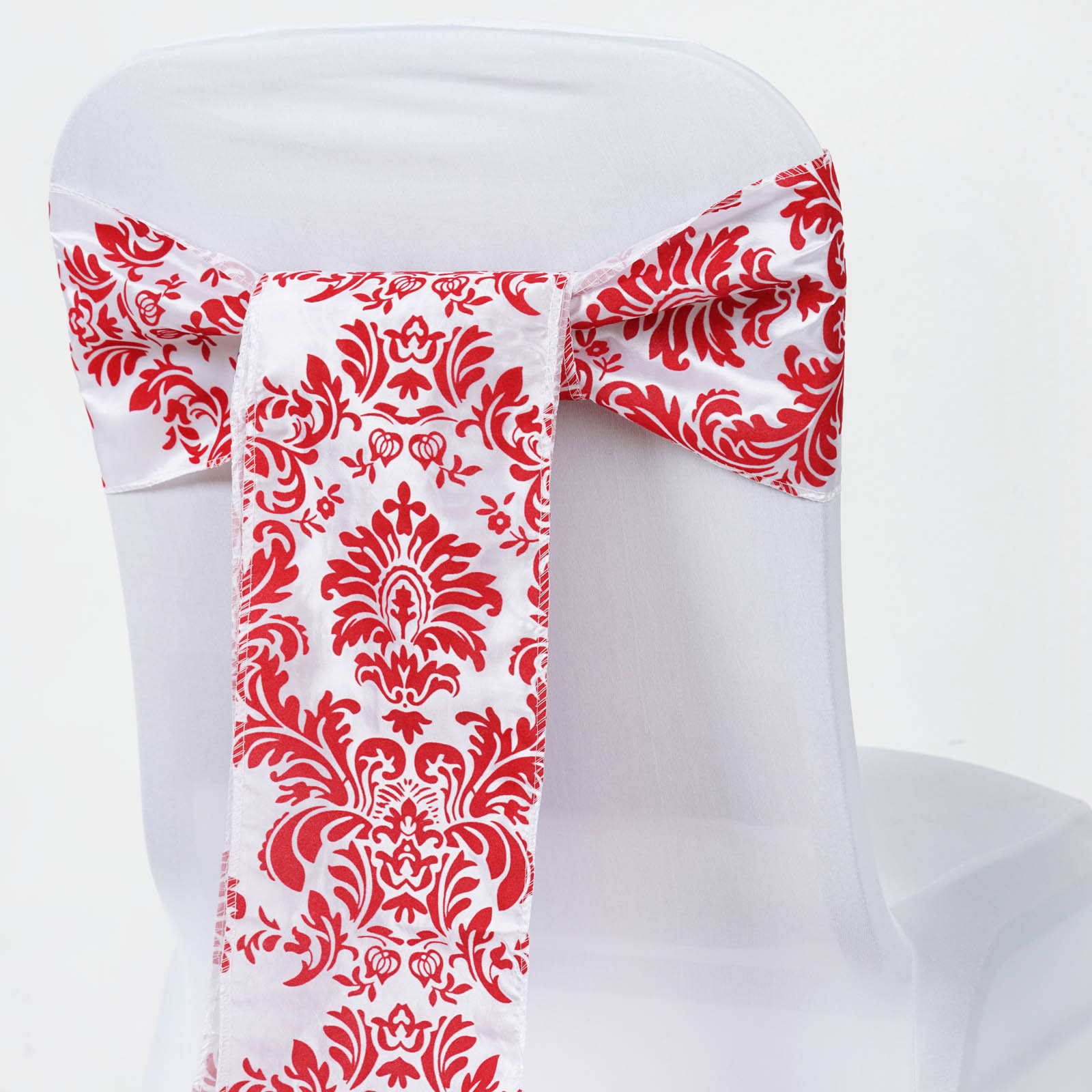 Red Chair Sashes 10 Pcs Chair Sashes Flocking Damask Ties Bows Wedding