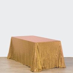 Gold Sequin Chair Covers Microfiber Club With Ottoman 90x156 Quot Rectangle Tablecloth Wedding Party