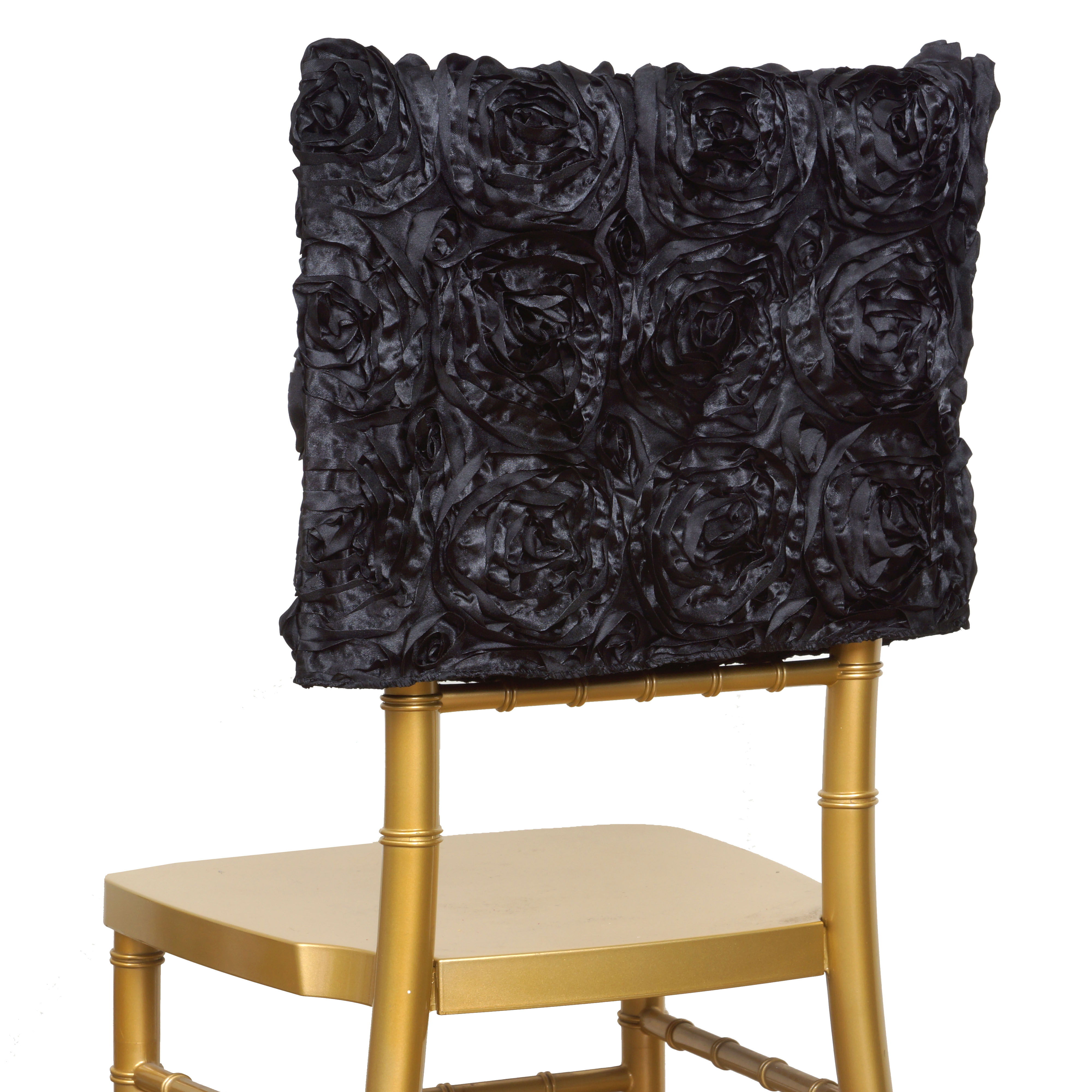 decorative chair covers wedding kids wooden table and set 100 pcs satin ribbon roses square cap