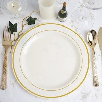 """9"""" PLASTIC PLATES Round TRIM Party Wedding Dinner Catering"""