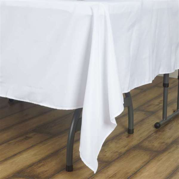 """90x90"""" Square Polyester Tablecloth - Black White Ivory"""