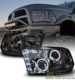 details about smoked 2009 2018 dodge ram 1500 2500 3500 halo led projector headlights headlamp [ 1000 x 1000 Pixel ]