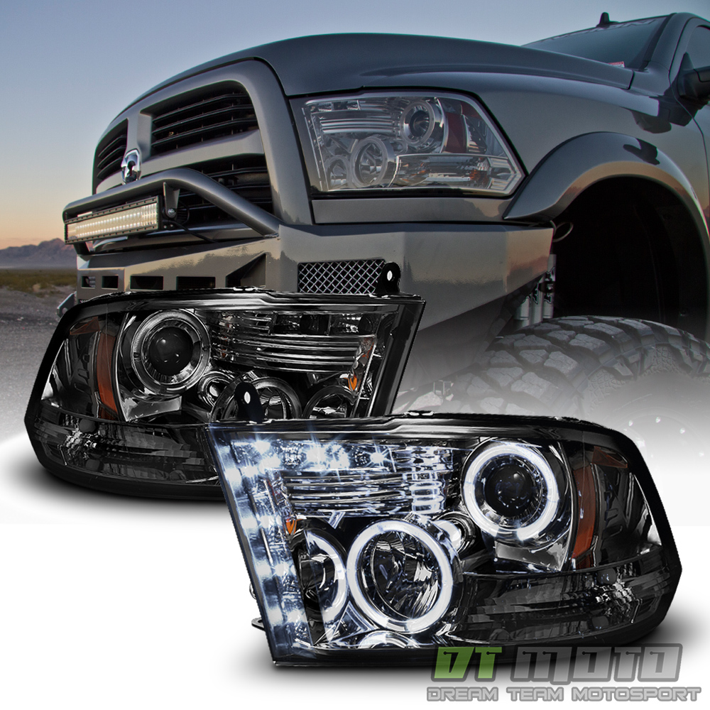 hight resolution of details about smoked 2009 2018 dodge ram 1500 2500 3500 halo led projector headlights headlamp