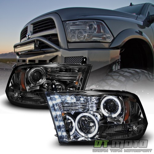 small resolution of details about smoked 2009 2018 dodge ram 1500 2500 3500 halo led projector headlights headlamp