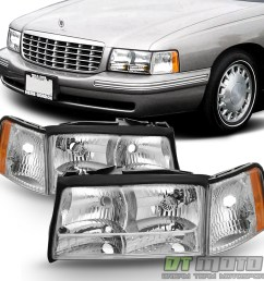 details about replacement 1997 1998 1999 cadillac deville headlights headlamps w corner lights [ 1000 x 1000 Pixel ]