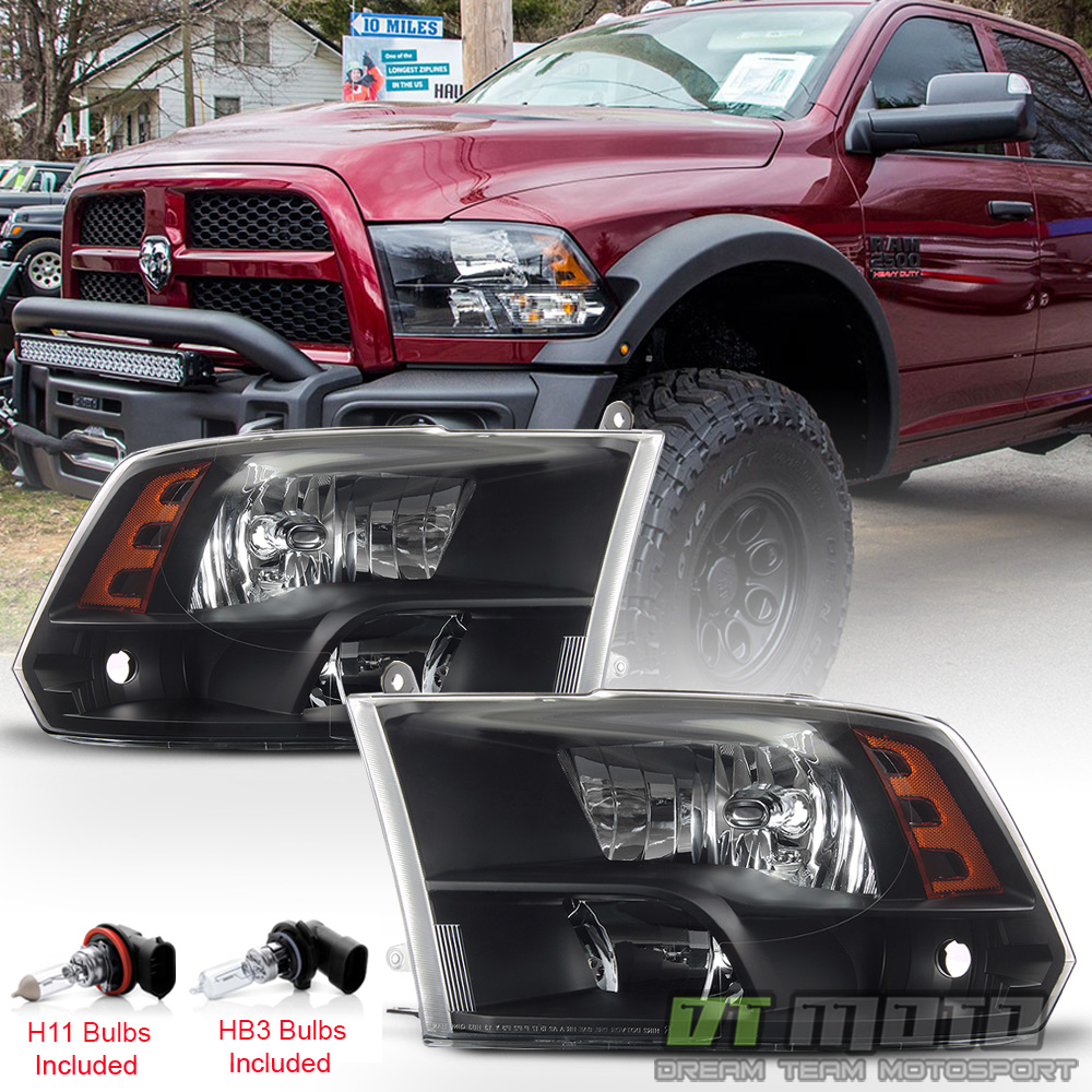 hight resolution of details about 2009 2018 dodge ram 1500 10 18 2500 3500 headlights black quad style headlamps