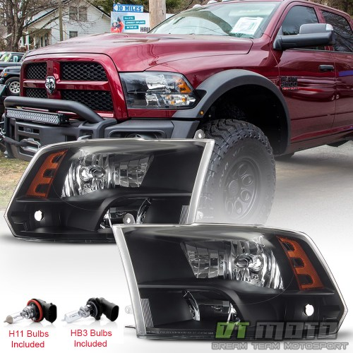 small resolution of details about 2009 2018 dodge ram 1500 10 18 2500 3500 headlights black quad style headlamps