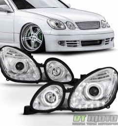 for 1998 2005 lexus gs300 gs400 gs430 led halo drl projector headlights headlamp [ 1000 x 1000 Pixel ]