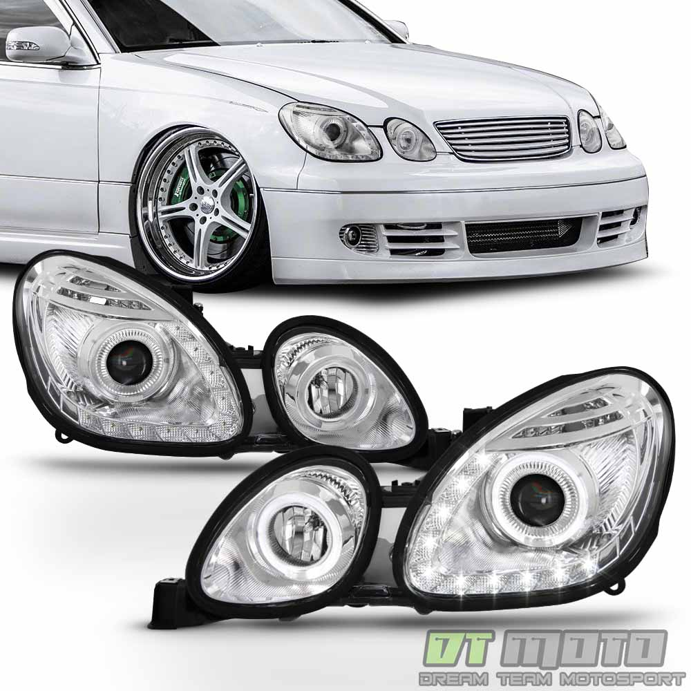 hight resolution of for 1998 2005 lexus gs300 gs400 gs430 led halo drl projector headlights headlamp