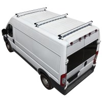 White Aluminum H3 3 Bar Cargo Van Ladder Roof Rack with ...