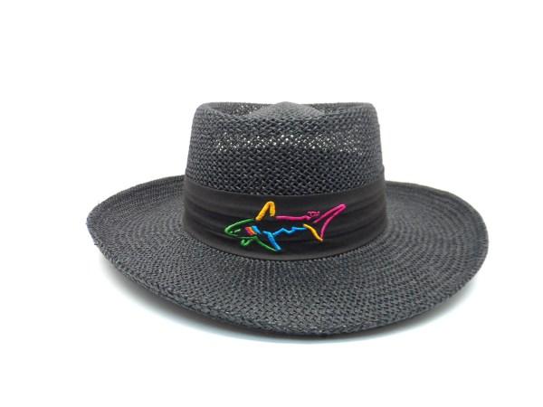 Greg Norman Collection Men' Shark Logo Band Straw Golf