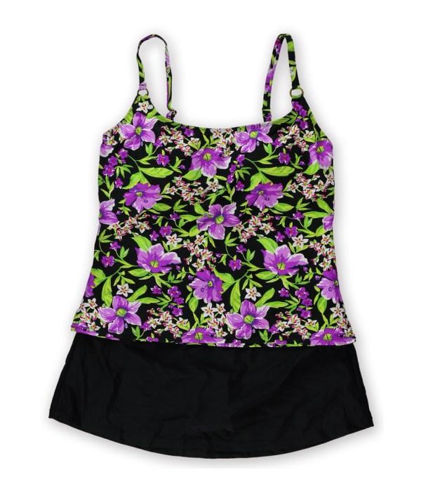 Island Escape Womens Floral Skirtini 2 Piece Tankini Purpleblack 14