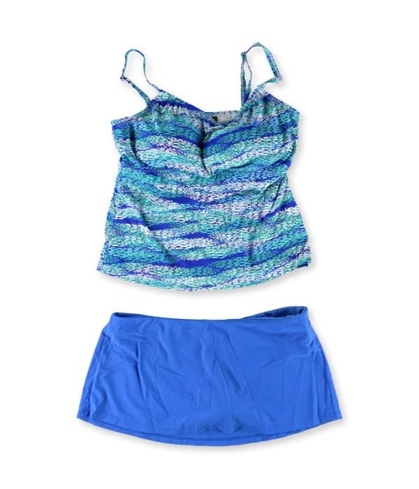Island Escape Womens High Neck Skirt 2 Piece Tankini Blue 14