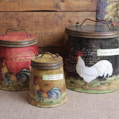 Rooster Canister Sets Kitchen Aristokraft Cabinets Shabby Country Chic Tin Set Home Decor   Ebay