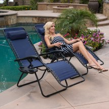 2 Folding Gravity Reclining Lounge Chairs Utility