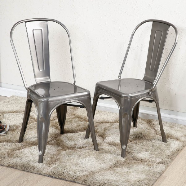 Set Of 4 Vintage Style Stackable Dining Chairs Steel High- Counter