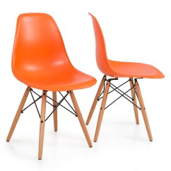 Mid Century Modern Plastic Chairs Fabric Folding Style Dsw Wood Base Shell Dining Side Chair Set