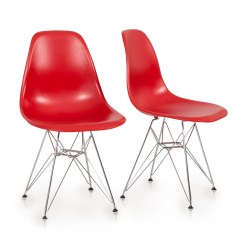 Modern Plastic Chair Reading Lounge 2x Eames Style Dsw Eiffel Side Molded Abs