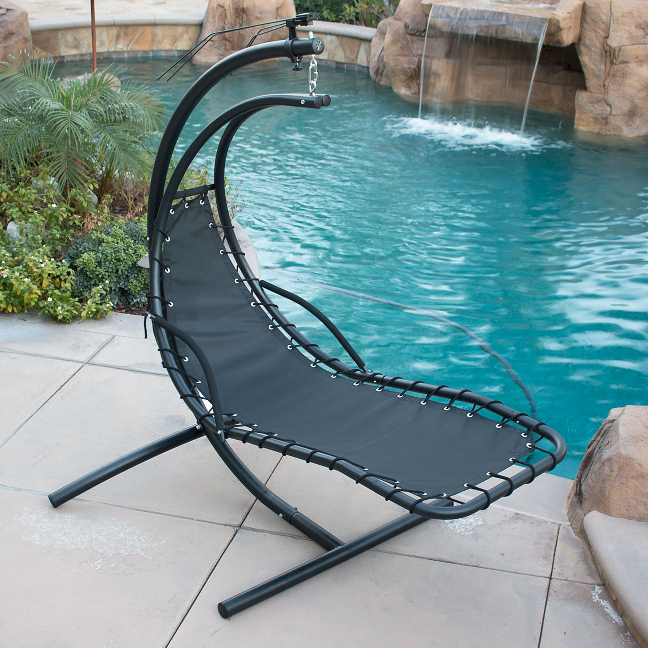 Patio Swing Chair Hanging Chaise Lounger Chair Arc Stand Air Porch Swing