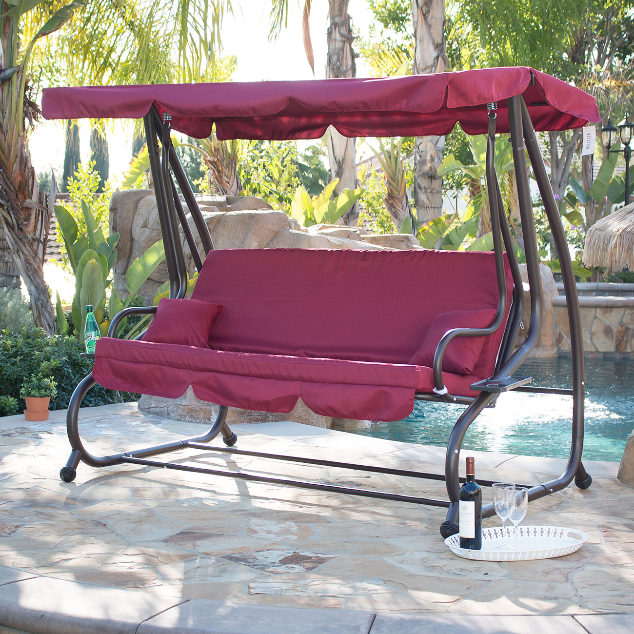 swing chair with canopy office costco outdoor bed patio adjustable deck porch