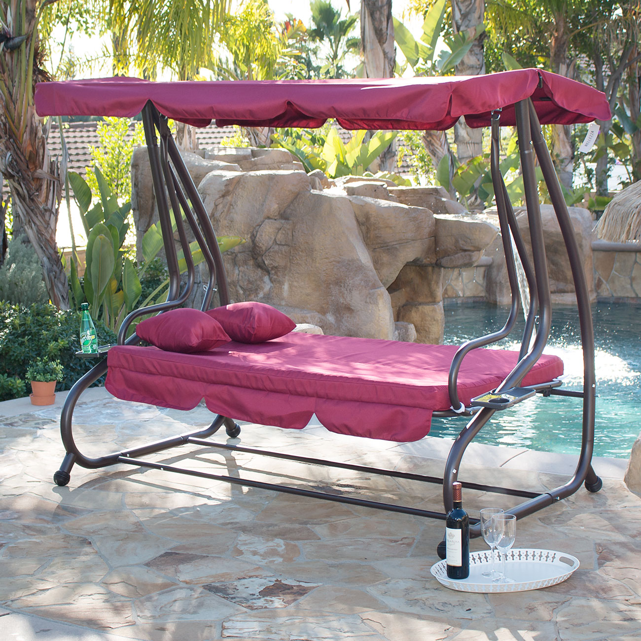 Outdoor Chair With Canopy Outdoor Swing Bed Patio Adjustable Canopy Deck Porch
