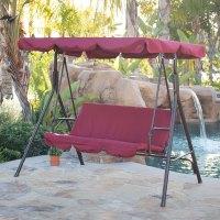 3-Person Patio Swing Canopy Tilt Awning Hammock Steel ...
