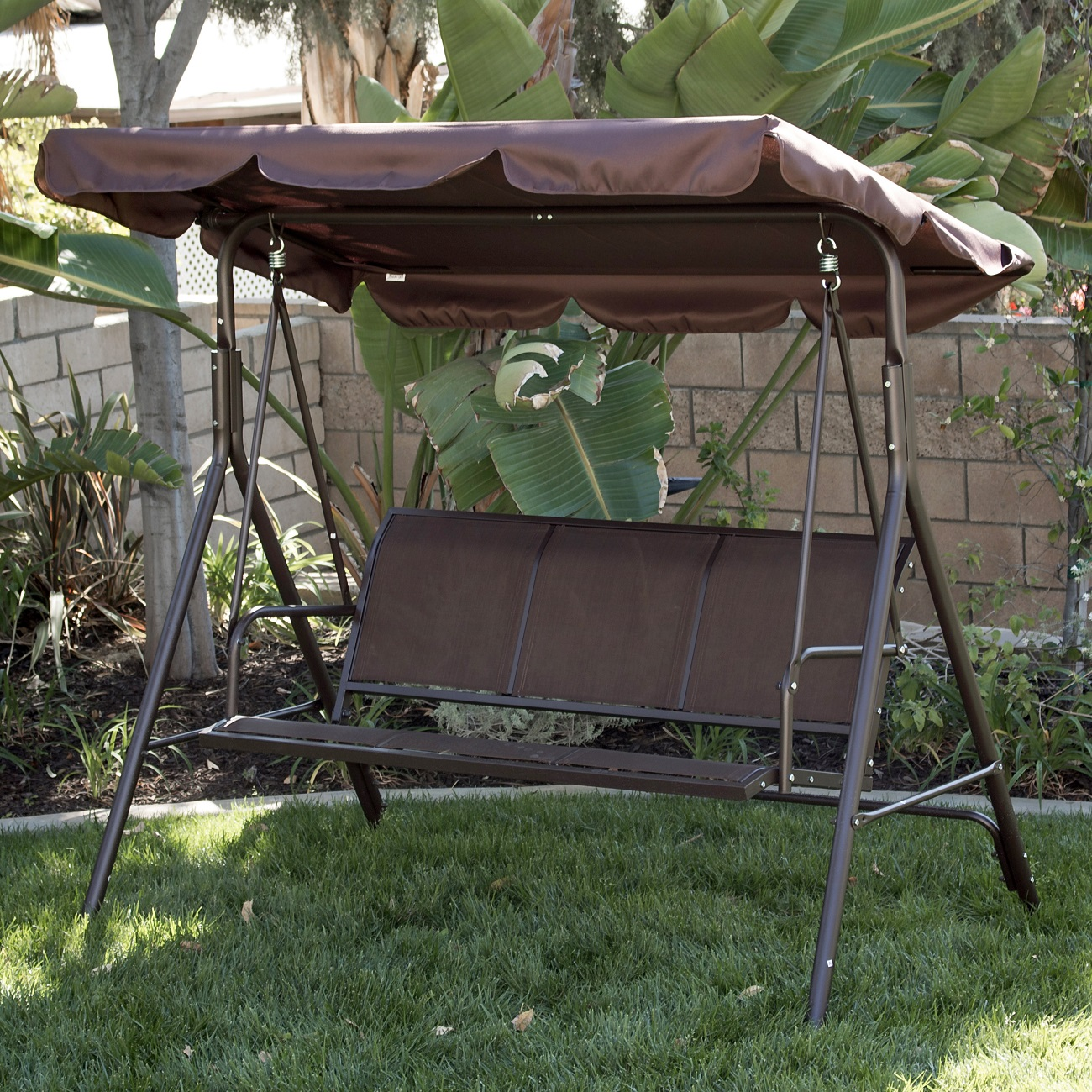 3 Person Patio Swing Outdoor Canopy Tilt Awning Yard