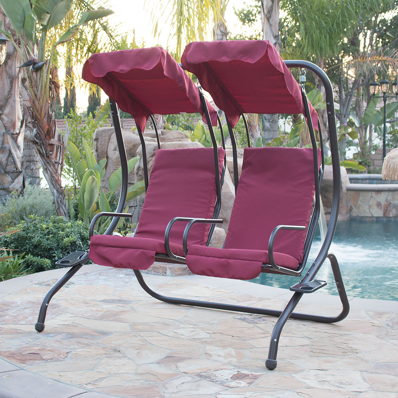 NEW Outdoor DoubleSwing Set 2Person Canopy Patio