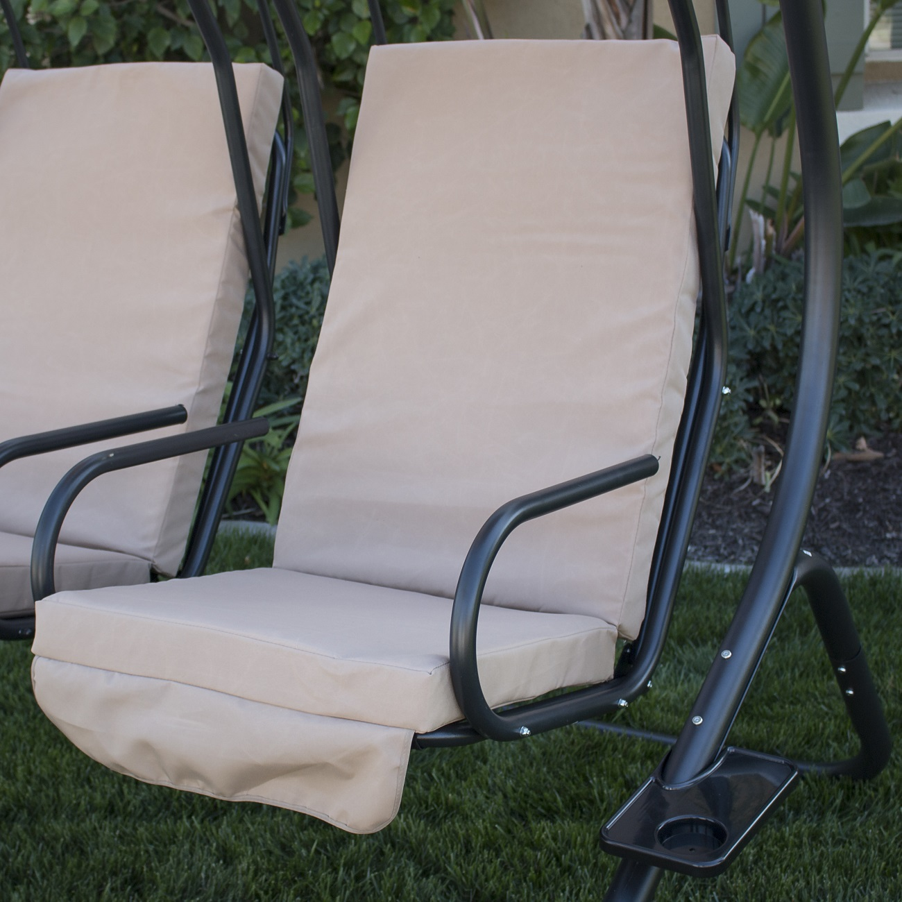 Double Seat Chair New Outdoor Double Swing Set 2 Person Canopy Patio