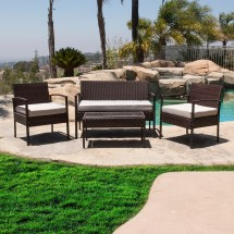 4pcs Outdoor Rattan Wicker Patio Set Garden Lawn Sofa