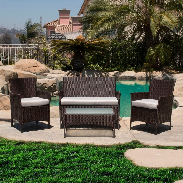 outdoor wicker furniture cushions for chairs 4 PC Rattan Furniture Set Outdoor Patio Garden Sectional