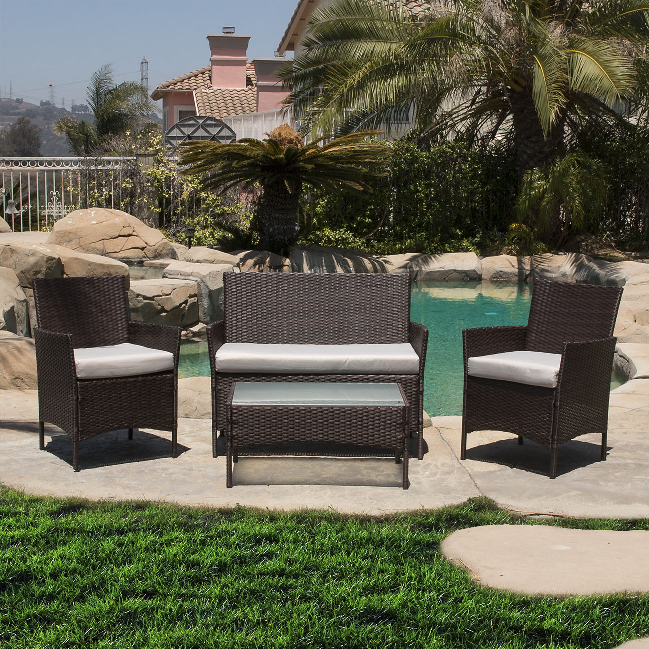 Rattan Outdoor Chairs 4 Pc Rattan Furniture Set Outdoor Patio Garden Sectional